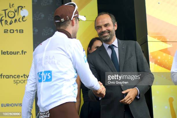 Podium / Pierre Latour of France and Team AG2R La Mondiale White Best Young Jersey / Edouard Philippe of France, French Prime Minister / Celebration...