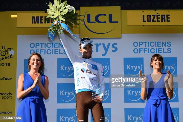 Podium / Pierre Latour of France and Team AG2R La Mondiale White Best Young Jersey / Celebration / during the 105th Tour de France 2018, Stage 14 a...