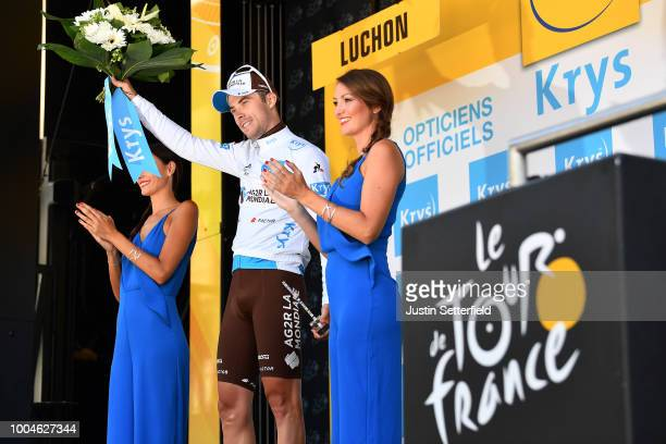 Podium / Pierre Latour of France and Team AG2R La Mondiale White Best Young Jersey / Celebration / during the 105th Tour de France 2018, Stage 16 a...