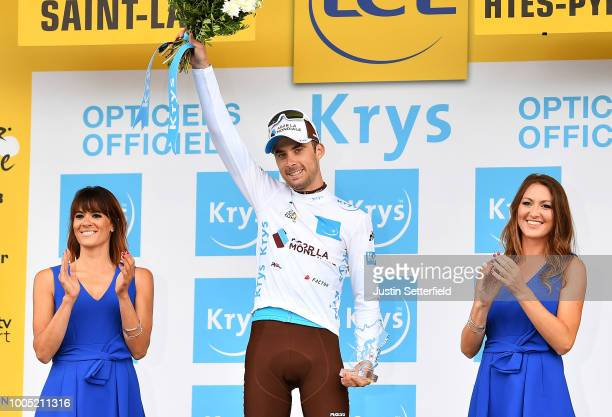 Podium / Pierre Latour of France and Team AG2R La Mondiale White Best Young Jersey / Celebration / during the 105th Tour de France 2018, Stage 17, a...