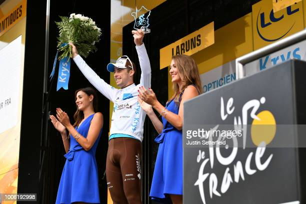 Podium / Pierre Latour of France and Team AG2R La Mondiale White Best Young Jersey / Celebration / during the 105th Tour de France 2018, Stage 19 a...