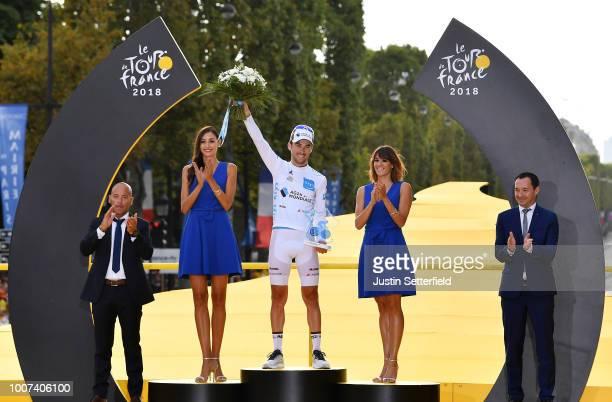 Podium / Pierre Latour of France and Team AG2R La Mondiale White Best Young Jersey / Celebration / Arc De Triomphe / during the 105th Tour de France...