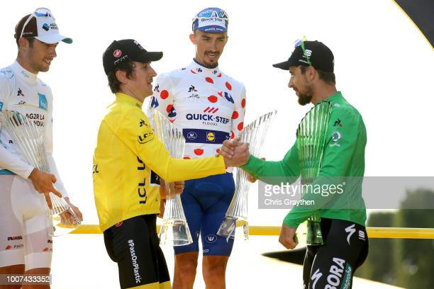 Podium / Pierre Latour of France and Team AG2R La Mondiale White Best Young Jersey / Geraint Thomas of Great Britain and Team Sky Yellow Leader...