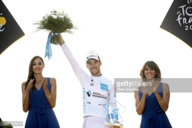 Podium / Pierre Latour of France and Team AG2R La Mondiale White Best Young Jersey / Celebration / during the 105th Tour de France 2018, Stage 21 a...
