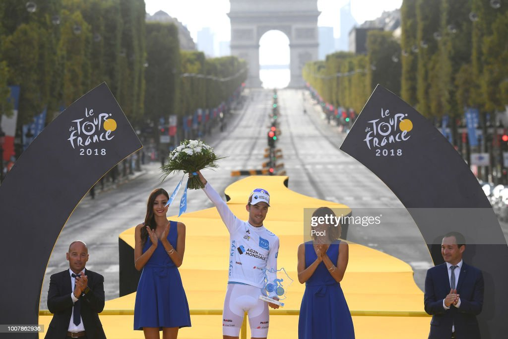 Podium / Pierre Latour of France and Team AG2R La Mondiale White Best Young Jersey / Arc De Triomphe / during the 105th Tour de France 2018, Stage 21 a 116km stage from Houilles to Paris Champs-Elysees / TDF / on July 29, 2018 in Paris, France.