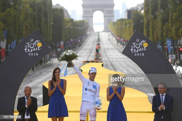 Podium / Pierre Latour of France and Team AG2R La Mondiale White Best Young Jersey / Arc De Triomphe / during the 105th Tour de France 2018, Stage 21...