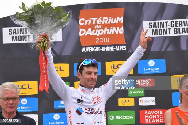 Podium / Pierre Latour of France and Team AG2R La Mondiale White Best Young Jersey / Celebration / during the 70th Criterium du Dauphine 2018 Stage 7...