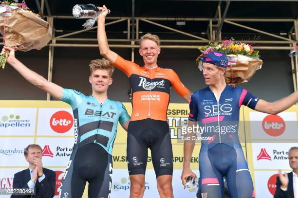 Podium / Piotr Havik from The Netherlands and Team Beat Cycling Club/ Taco Van Der Hoorn of The Netherlands and Team Roompot - Nederlandse Loterij /...