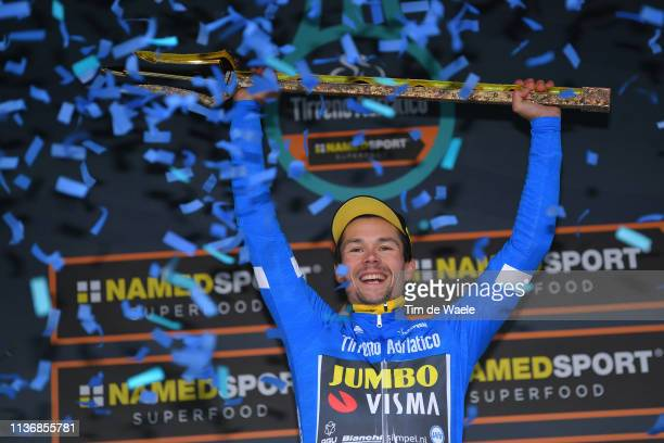 Podium / Primoz Roglic of Slovenia and Team Jumbo - Visma Blue Leader Jersey / Celebration / Trident / Trophy / during the 54th Tirreno-Adriatico...