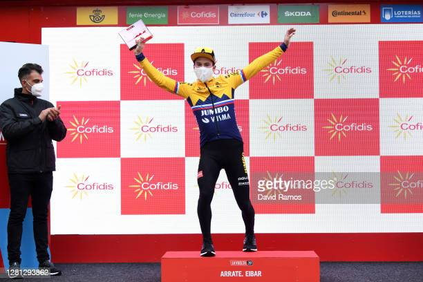 Podium / Primoz Roglic of Slovenia and Team Jumbo - Visma / Celebration / Oscar Pereiro of Spain Ex Pro-cyclist winner of the Tour of France 2006 /...