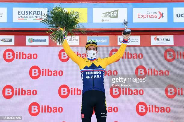 Podium / Primoz Roglic of Slovenia and Team Jumbo - Visma Celebration, during the 60th Itzulia-Vuelta Ciclista Pais Vasco 2021, Stage 1 a 13,9km...