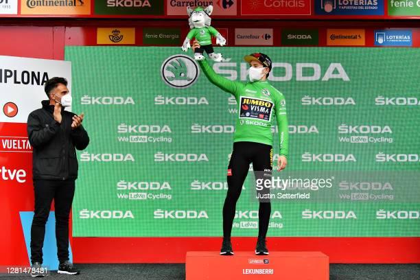 Podium / Primoz Roglic of Slovenia and Team Jumbo - Visma Green Points Jersey / Celebration / Oscar Pereiro of Spain Ex Pro-cyclist winner of the...