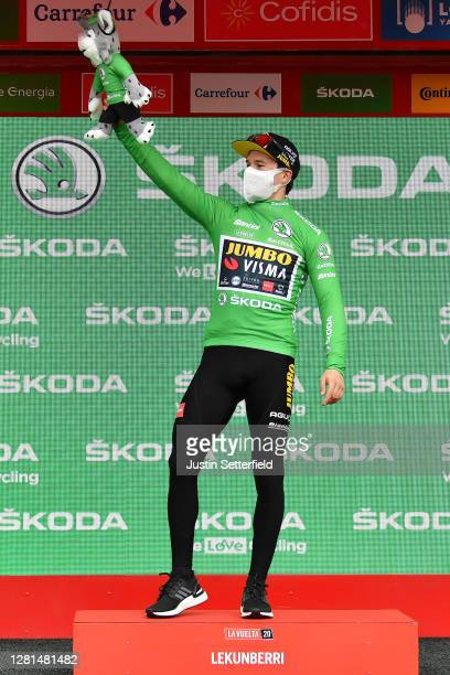 Podium / Primoz Roglic of Slovenia and Team Jumbo - Visma Green Points Jersey / Celebration / Mascot / Mask / Covid safety measures / during the 75th...