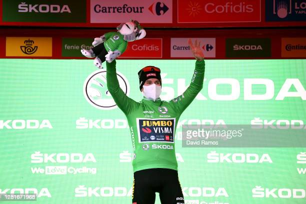 Podium / Primoz Roglic of Slovenia and Team Jumbo Visma Green Points Jersey / Celebration / Mascot / Mask / Covid safety measures / during the 75th...