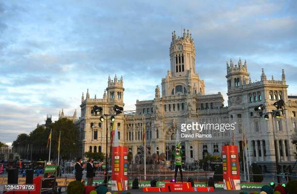 Podium / Primoz Roglic of Slovenia and Team Jumbo - Visma Green Points Jersey / Celebration / Mascot / Madrid Town Hall / Plaza Cibeles / Madrid City...