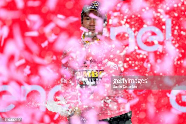 Podium / Primoz Roglic of Slovenia and Team Jumbo - Visma Pink Leader Jersey / Celebration / Champagne / during the 102nd Giro d'Italia 2019, Stage 5...