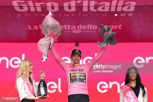 Podium / Primoz Roglic of Slovenia and Team Jumbo - Visma Pink Leader Jersey / Celebration / Miss / Hostess / during the 102nd Giro d'Italia 2019,...