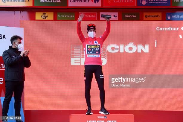 Podium / Primoz Roglic of Slovenia and Team Jumbo - Visma Red Leader Jersey / Celebration / Oscar Pereiro of Spain Ex Pro-cyclist winner of the Tour...