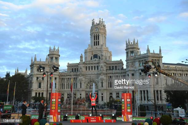 Podium / Primoz Roglic of Slovenia and Team Jumbo - Visma Red Leader Jersey / Celebration / Madrid Town Hall / Plaza Cibeles / Madrid City / Sunset /...
