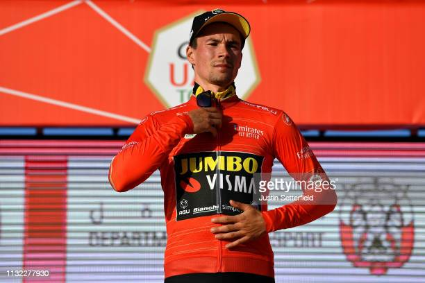 Podium / Primoz Roglic of Slovenia and Team JumboVisma Red Leader Jersey / Celebration / during the 5th UAE Tour 2019 Stage 3 a 179km stage from Al...