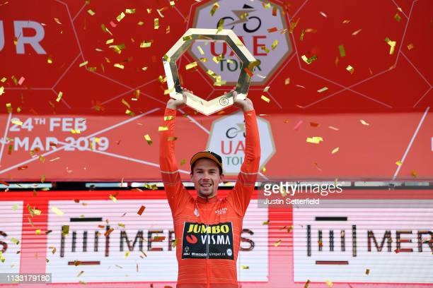 Podium / Primoz Roglic of Slovenia and Team JumboVisma Red Leader Jersey / Celebration / Trophy / during the 5th UAE Tour 2019 Stage 7 a 145km stage...
