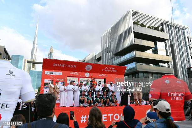 Podium / Primoz Roglic of Slovenia and Team Jumbo-Visma Red Leader Jersey / Alejandro Valverde Belmonte of Spain and Movistar Team World Champion...