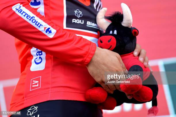 Podium / Primoz Roglic of Slovenia and Team Jumbo-Visma Red Leader Jersey / Celebration / Bull mascot / Detail view / during the 74th Tour of Spain...