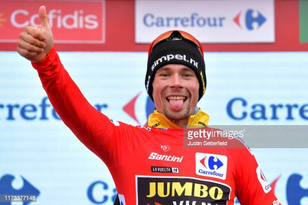 Podium / Primoz Roglic of Slovenia and Team JumboVisma Red Leader Jersey / Celebration / during the 74th Tour of Spain 2019 Stage 16 a 1444km stage...