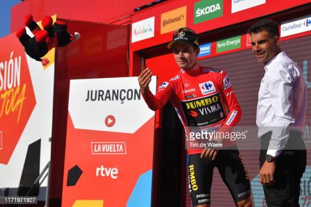 Podium / Primoz Roglic of Slovenia and Team Jumbo-Visma Red Leader Jersey / Óscar Pereiro of Spain Ex Pro-cyclist winner of the Tour of France 2006 /...