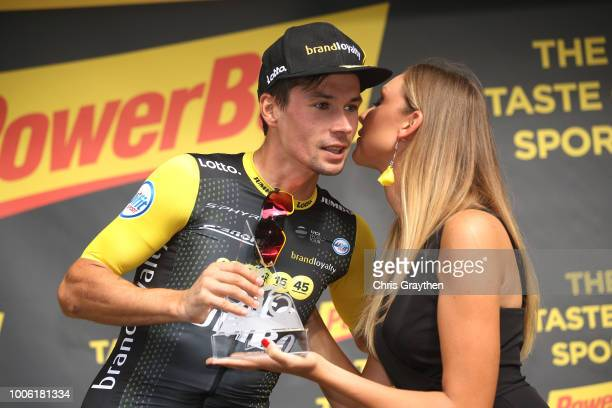 Podium / Primoz Roglic of Slovenia and Team LottoNL Jumbo / Celebration / during the 105th Tour de France 2018 Stage 19 a 2005km stage from Lourdes...