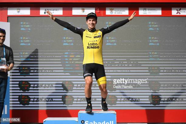 Podium / Primoz Roglic of Slovenia and Team LottoNLJumbo / Celebration / during the 58th Vuelta Pais Vasco 2018 Stage 4 a 194km individual time trial...