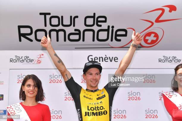 Podium / Primoz Roglic of Slovenia and Team LottoNLJumbo during the 72nd Tour de Romandie 2018 Stage 5 a 1818km stage from MontsurRolle to Geneva on...