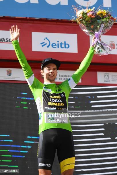 Podium / Primoz Roglic of Slovenia and Team LottoNL-Jumbo / Green Points Leader Jersey / Celebration / Flowers / during the 58th Vuelta Pais Vasco...