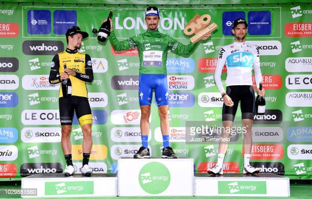 Podium / Primoz Roglic of Slovenia and Team LottoNLJumbo / Julian Alaphilippe of France and Team QuickStep Floors Green Leader Jersey / Wout Poels of...