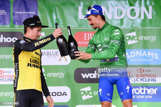 Podium / Primoz Roglic of Slovenia and Team LottoNLJumbo / Julian Alaphilippe of France and Team QuickStep Floors Green Leader Jersey / Celebration /...