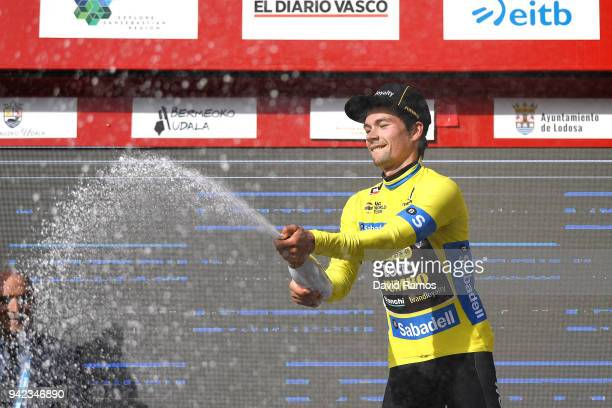 Podium / Primoz Roglic of Slovenia and Team LottoNLJumbo Yellow Leader Jersey / Celebration / Champagne / Flowers / during the 58th Vuelta Pais Vasco...