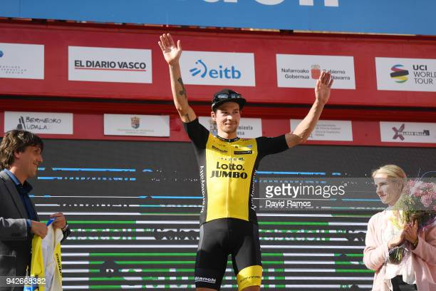 Podium / Primoz Roglic of Slovenia and Team LottoNLJumbo / Yellow Leader Jersey / Celebration / during the 58th Vuelta Pais Vasco 2018 Stage 5 a...