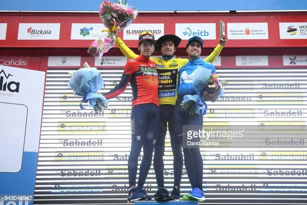 Podium / Primoz Roglic of Slovenia and Team LottoNLJumbo Yellow Leader Jersey / Mikel Landa Meana of Spain and Movistar Team / Jon Izagirre Insausti...