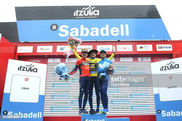 Podium / Primoz Roglic of Slovenia and Team LottoNLJumbo Yellow Leader Jersey / Mikel Landa Meana of Spain and Movistar Team / Jon Izagirre Insausti...