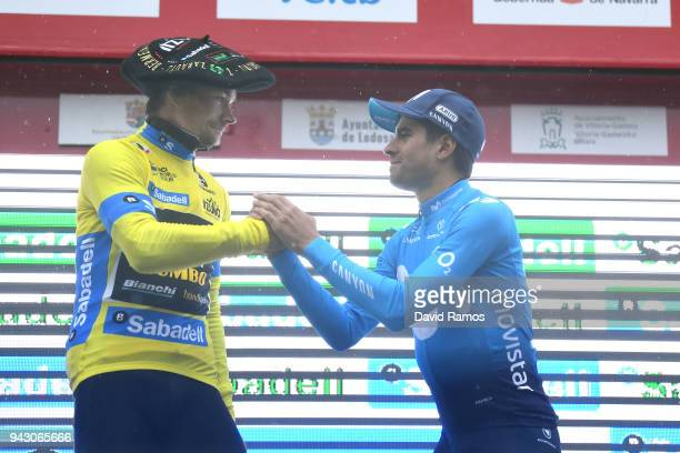 Podium / Primoz Roglic of Slovenia and Team LottoNLJumbo Yellow Leader Jersey / Mikel Landa Meana of Spain and Movistar Team / Celebration / during...