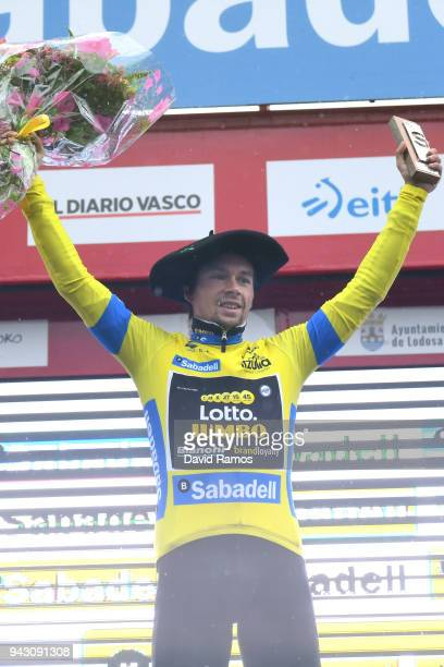 Podium / Primoz Roglic of Slovenia and Team LottoNLJumbo Yellow Leader Jersey / Celebration / Flowers / Trophy / during the 58th Vuelta Pais Vasco...