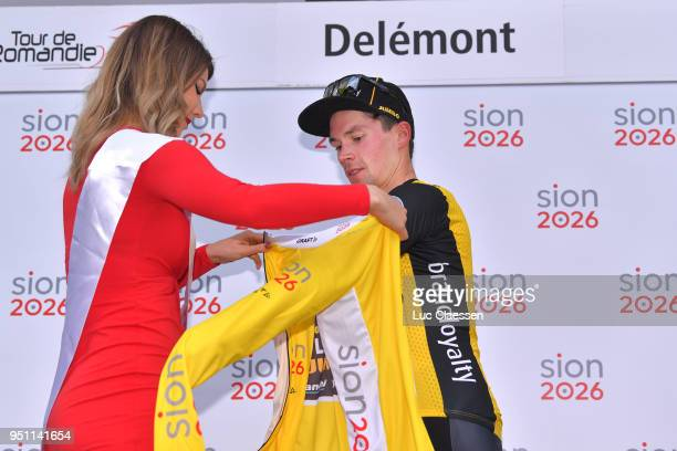 Podium / Primoz Roglic of Slovenia and Team LottoNLJumbo Yellow Leader Jersey / Celebration / during the 72nd Tour de Romandie 2018 Stage 1 a 1666km...