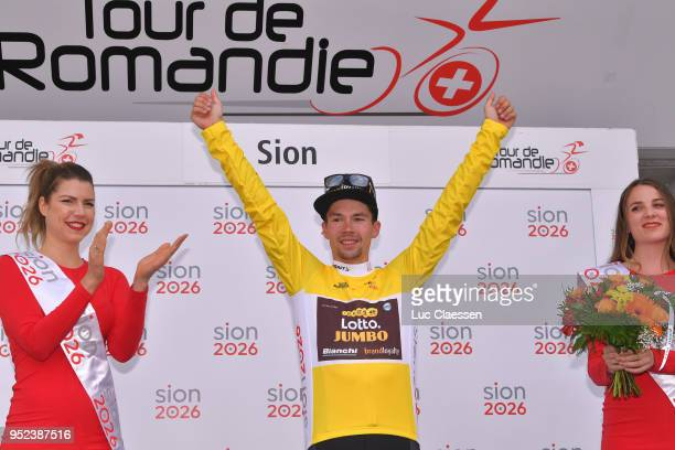 Podium / Primoz Roglic of Slovenia and Team LottoNLJumbo Yellow Leader Jersey / Celebration / during the 72nd Tour de Romandie 2018 Stage 4 a 1492km...