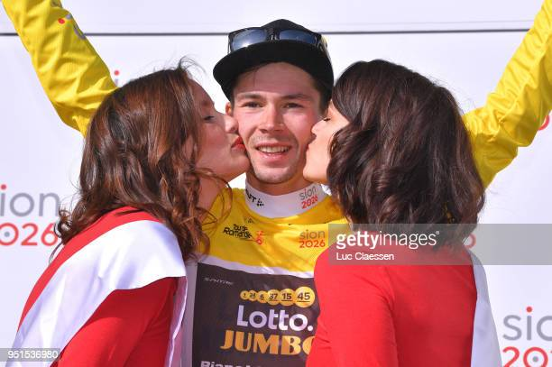Podium / Primoz Roglic of Slovenia and Team LottoNLJumbo / Yellow leaders jersey Celebration / during the 72nd Tour de Romandie 2018 Stage 2 a 1739km...