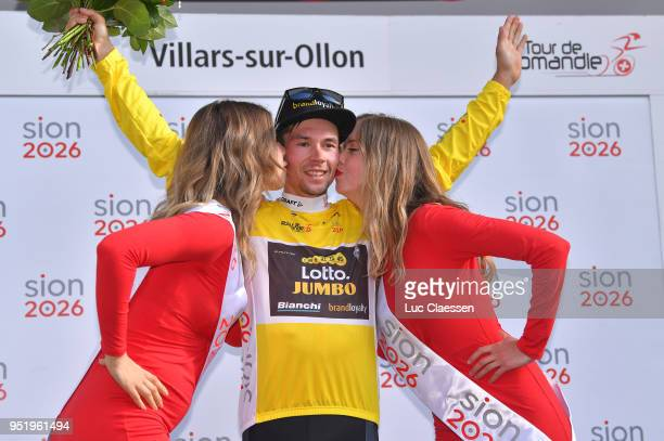 Podium / Primoz Roglic of Slovenia and Team LottoNLJumbo / Yellow leaders jersey Celebration / during the 72nd Tour de Romandie 2018 Stage 3 a 99km...