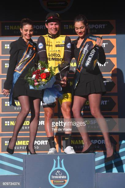 Podium / Primoz Roglic of Slovenia Celebration / during the 53rd TirrenoAdriatico 2018 Stage 3 a 239km stage from Follonica to Trevi 425m on March 9...