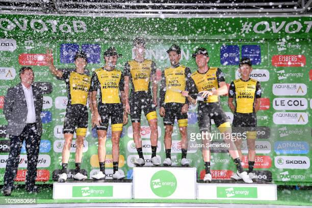 Podium / Primoz Roglic of Slovenia / Koen Bouwman of The Netherlands / Pascal Eenkhoorn of The Netherlands / Jos van Emden of The Netherlands /...
