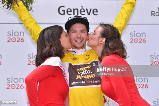 Podium / Primoz Roglic Yellow Leader Jersey Celebration / during the 72nd Tour de Romandie 2018 Stage 5 a 1818km stage from MontsurRolle to Geneva on...