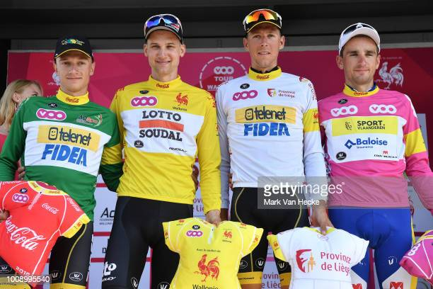 Podium / Quinten Hermans of Belgium and Team Telenet Fidea Lions Green Points Jersey / Tim Wellens of Belgium and Team Lotto Soudal Yellow Leader...