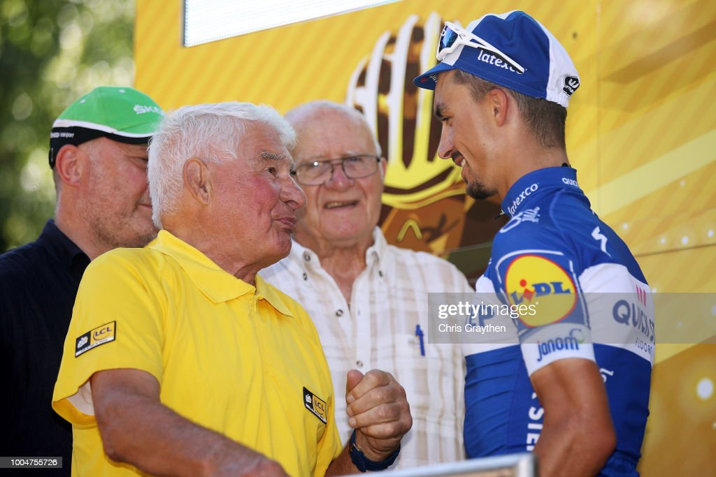 Podium / Raymond Poulidor of France Ex Pro-cyclist / Julian Alaphilippe of France and Team Quick-Step Floors Celebration / during the 105th Tour de France 2018, Stage 16 a 218km stage from Carcassonne to Bagneres-de-Luchon on July 24, 2018 in Bagneres-de-Luchon, France.